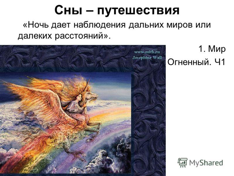 Сны – путешествия «Ночь дает наблюдения дальних миров или далеких расстояний». 1. Мир Огненный. Ч1