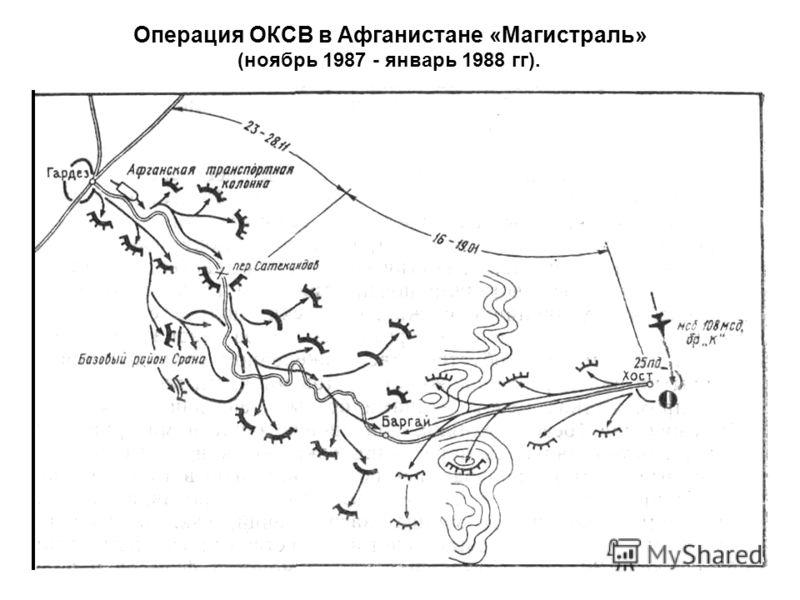 Операция ОКСВ в Афганистане «Магистраль» (ноябрь 1987 - январь 1988 гг).