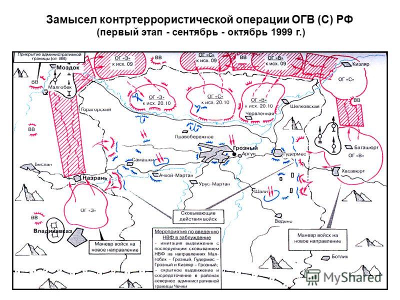 Замысел контртеррористической операции ОГВ (С) РФ (первый этап - сентябрь - октябрь 1999 г.)
