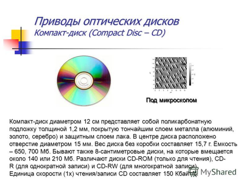 Приводы оптических дисков Компакт-диск (Compact Disc – CD) Под микроскопом Компакт-диск диаметром 12 см представляет собой поликарбонатную подложку толщиной 1,2 мм, покрытую тончайшим слоем металла (алюминий, золото, серебро) и защитным слоем лака. В