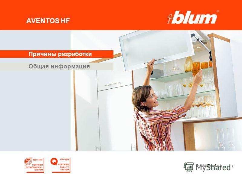 4 © Julius Blum GmbH AVENTOS HF Общая информация Причины разработки