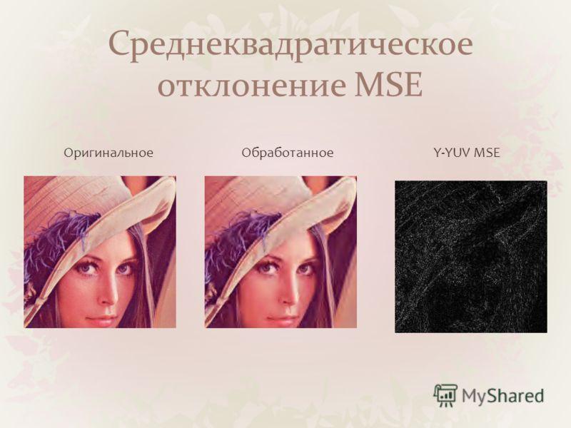 Среднеквадратическое отклонение MSE ОригинальноеОбработанноеY-YUV MSE