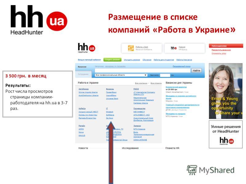 Размещение в списке компаний «Работа в Украине » 3 500 грн. в месяц Результаты: Рост числа просмотров страницы компании- работодателя на hh.ua в 3-7 раз.