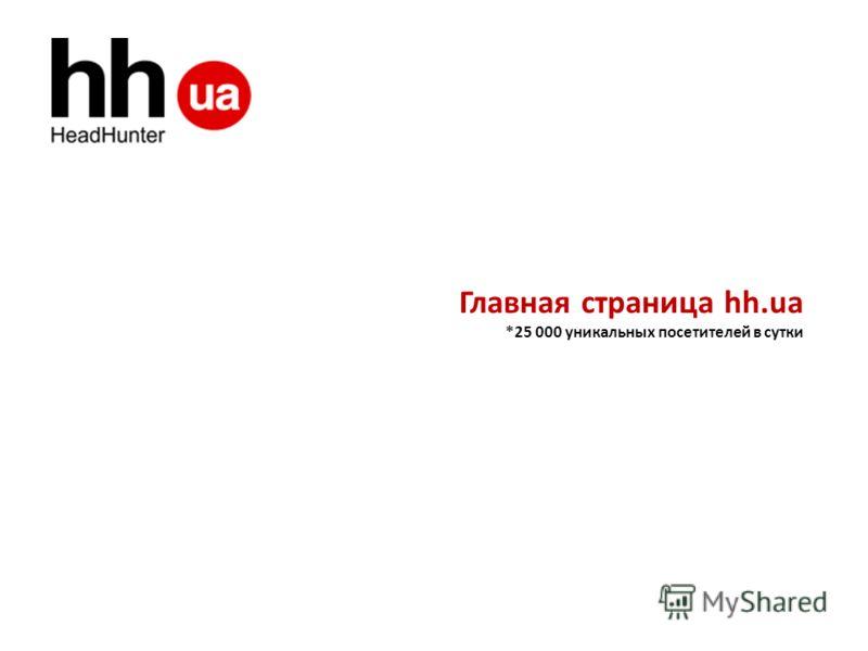 Главная страница hh.ua *25 000 уникальных посетителей в сутки