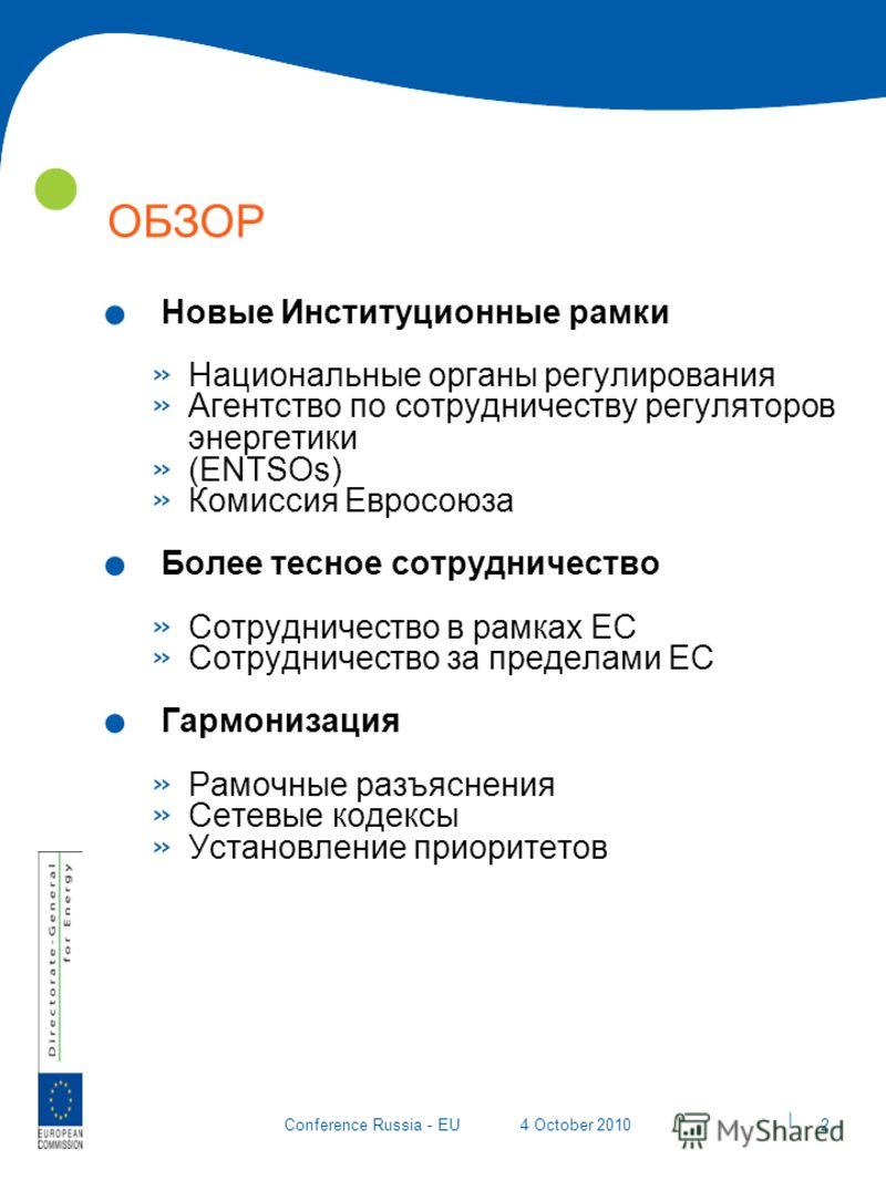 | 2 Conference Russia - EU4 October 2010 ОБЗОР. Новые Институционные рамки » Национальные органы регулирования » Агентство по сотрудничеству регуляторов энергетики » (ENTSOs) » Комиссия Евросоюза. Более тесное сотрудничество » Сотрудничество в рамках