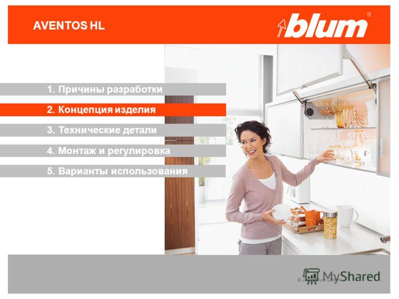 © Julius Blum GmbH AVENTOS HL 3. Технические детали 2. Концепция изделия 1. Причины разработки 4. Монтаж и регулировка 5. Варианты использования