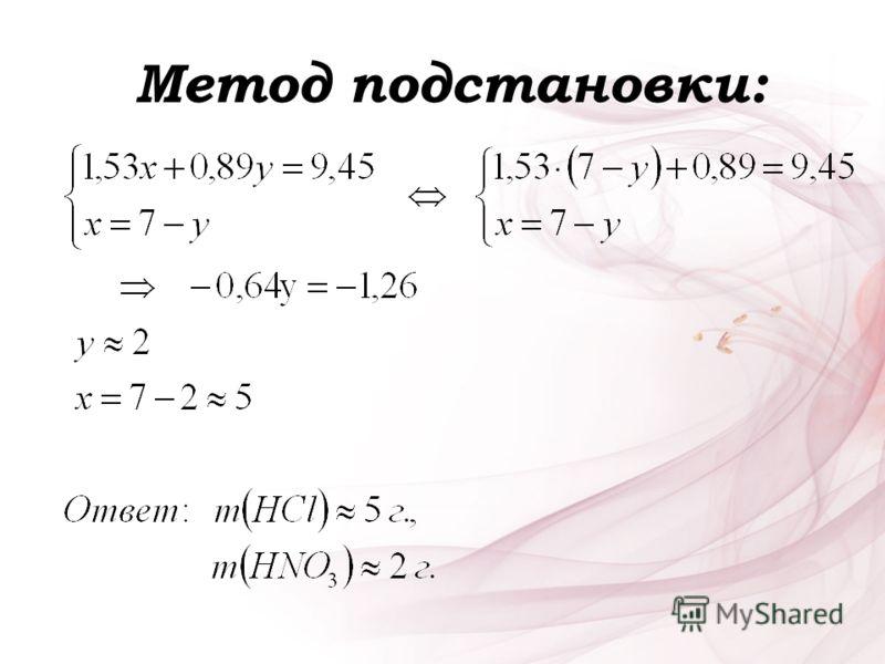 Метод подстановки: