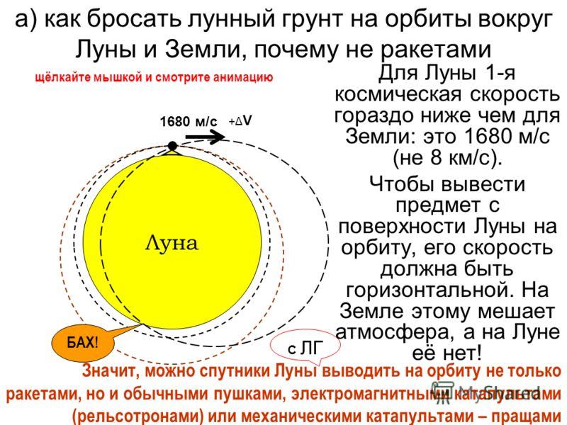 а) как бросать лунный грунт на орбиты вокруг Луны и Земли, почему не ракетами Для Луны 1-я космическая скорость гораздо ниже чем для Земли: это 1680 м/с (не 8 км/с). Чтобы вывести предмет с поверхности Луны на орбиту, его скорость должна быть горизон