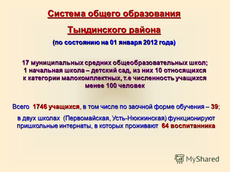 Система общего образования Тындинского района (по состоянию на 01 января 2012 года) 17 муниципальных средних общеобразовательных школ; 1 начальная школа – детский сад, из них 10 относящихся к категории малокомплектных, т.е численность учащихся менее