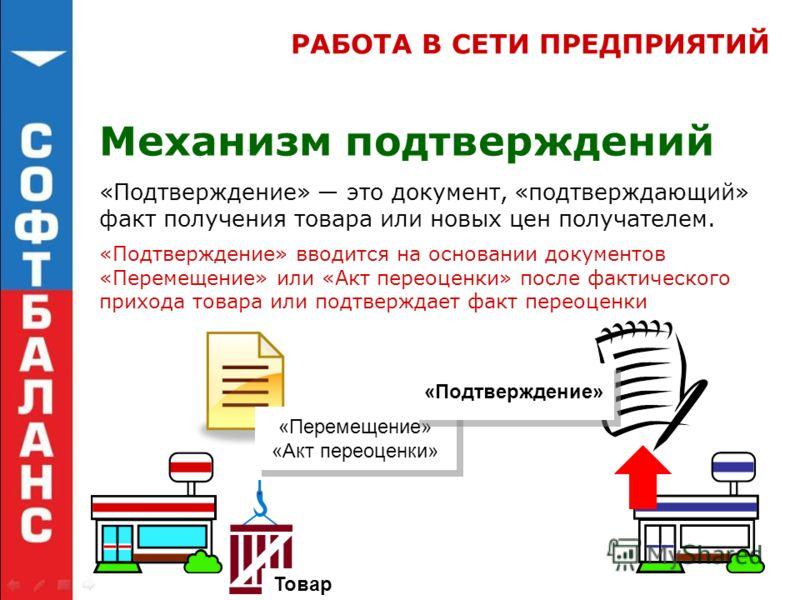 Механизм подтверждений «Подтверждение» это документ, «подтверждающий» факт получения товара или новых цен получателем. Товар «Перемещение» «Акт переоценки» «Подтверждение» «Подтверждение» вводится на основании документов «Перемещение» или «Акт переоц