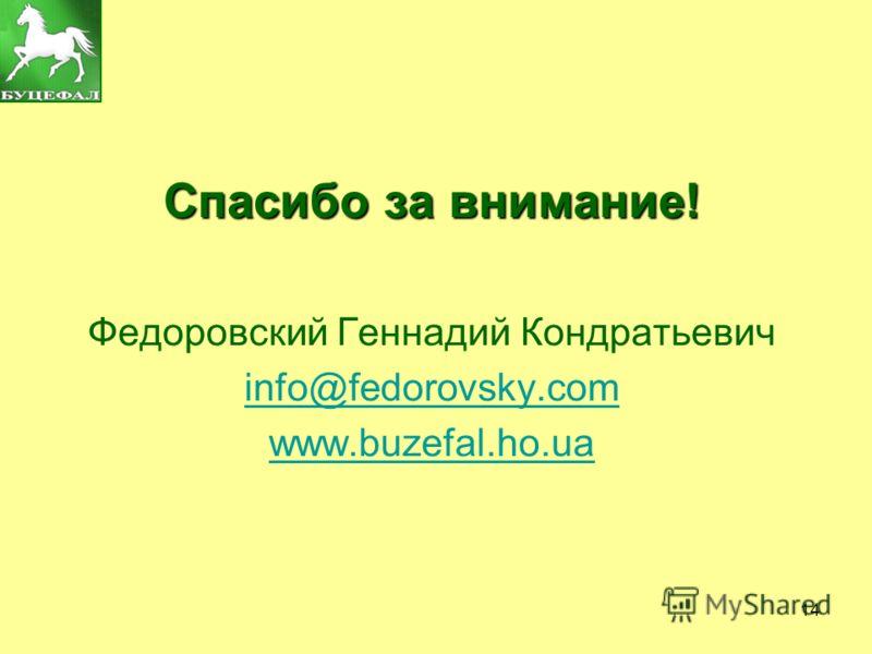 14 Спасибо за внимание! Федоровский Геннадий Кондратьевич info@fedorovsky.com www.buzefal.ho.ua