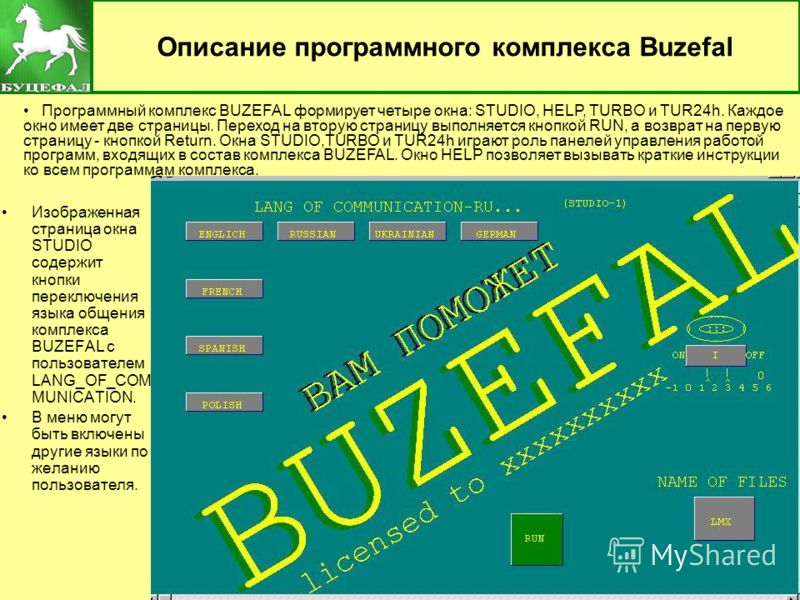 3 Описание программного комплекса Buzefal Изображенная страница окна STUDIO содержит кнопки переключения языка общения комплекса BUZEFAL с пользователем LANG_OF_COM MUNICATION. В меню могут быть включены другие языки по желанию пользователя. Программ