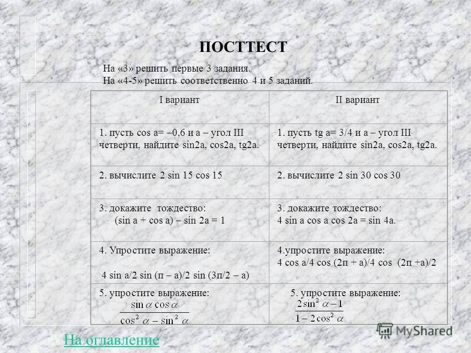 ПОСТТЕСТ I вариантII вариант 1. пусть cos a= –0,6 и а – угол III четверти, найдите sin2a, cos2a, tg2a. 1. пусть tg a= 3/4 и а – угол III четверти, найдите sin2a, cos2a, tg2a. 2. вычислите 2 sin 15 cos 152. вычислите 2 sin 30 cos 30 3. докажите тождес