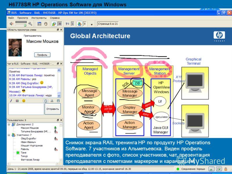 2418 August 2012 Снимок экрана RAIL тренинга HP по продукту HP Operations Software. 7 участников из Альметьевска. Виден профиль преподавателя с фото, список участников, чат, презентация преподавателя с пометками маркером и карандашом. H6778SR HP Oper