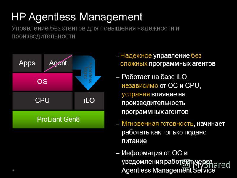 19 Управление без агентов для повышения надежности и производительности HP Agentless Management –Надежное управление без сложных программных агентов –Работает на базе iLO, независимо от ОС и CPU, устраняя влияние на производительность программных аге