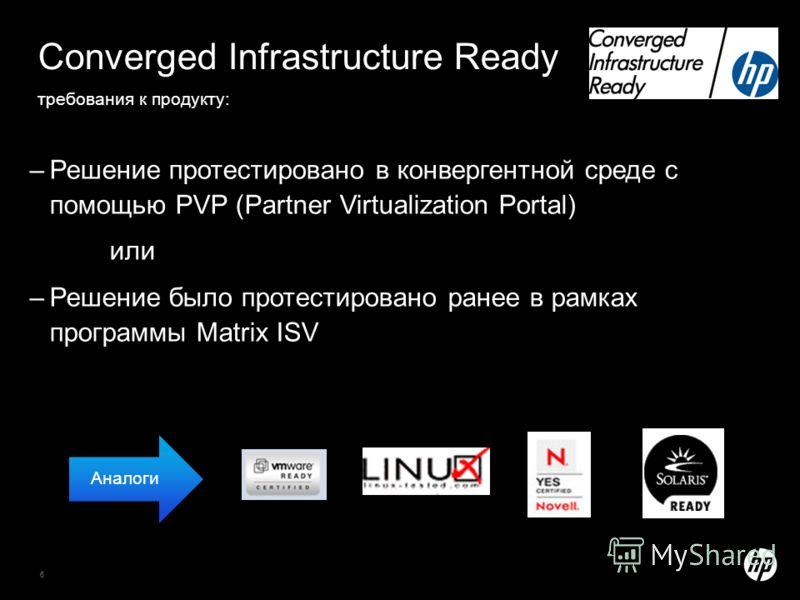 6 Converged Infrastructure Ready требования к продукту: –Решение протестировано в конвергентной среде с помощью PVP (Partner Virtualization Portal) или –Решение было протестировано ранее в рамках программы Matrix ISV Аналоги
