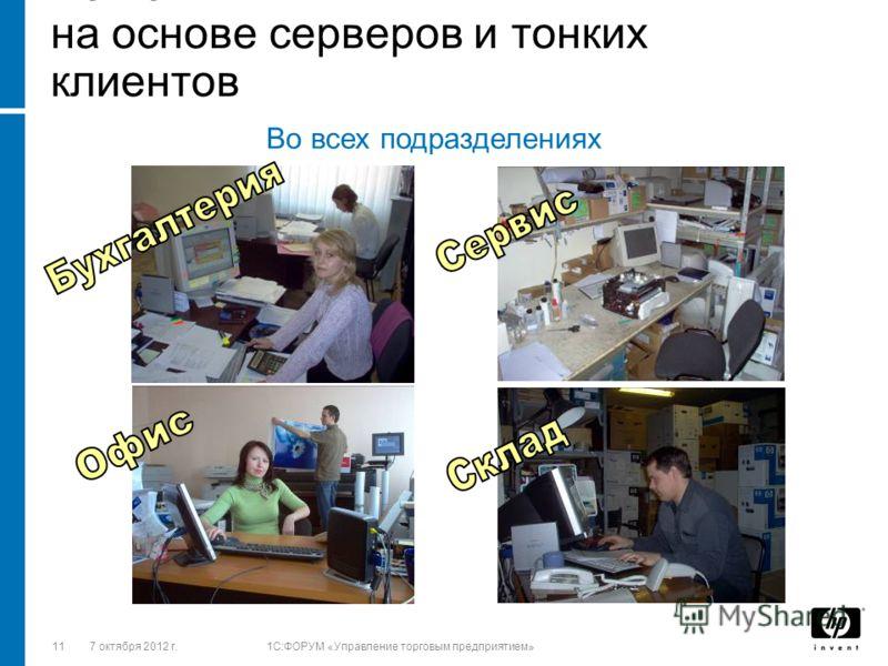 1128 августа 2012 г.1C:ФОРУМ «Управление торговым предприятием» Решения HP на основе серверов и тонких клиентов Во всех подразделениях