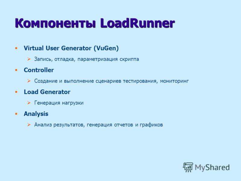 Компоненты LoadRunner Virtual User Generator (VuGen) Запись, отладка, параметризация скрипта Controller Создание и выполнение сценариев тестирования, мониторинг Load Generator Генерация нагрузки Analysis Анализ результатов, генерация отчетов и график