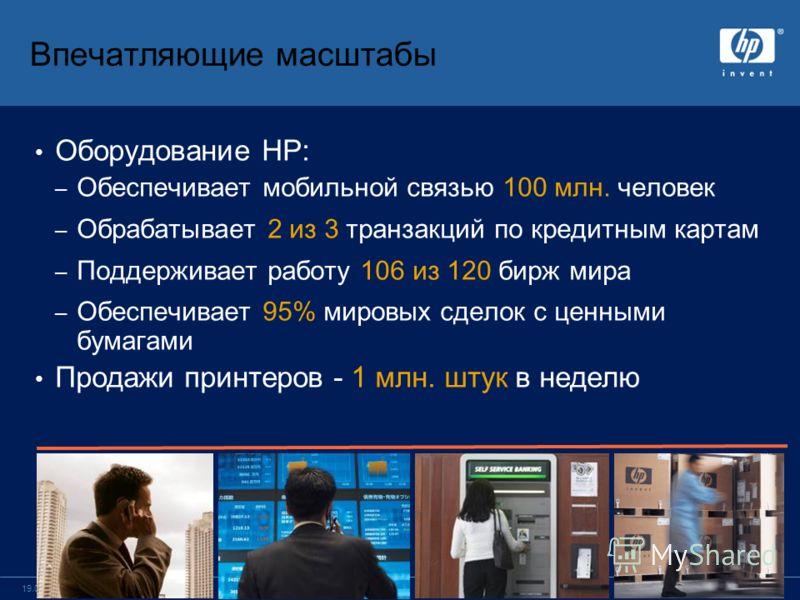 стр. 419.05.2005 Впечатляющие масштабы Оборудование HP: – Обеспечивает мобильной связью 100 млн. человек – Обрабатывает 2 из 3 транзакций по кредитным картам – Поддерживает работу 106 из 120 бирж мира – Обеспечивает 95% мировых сделок с ценными бумаг