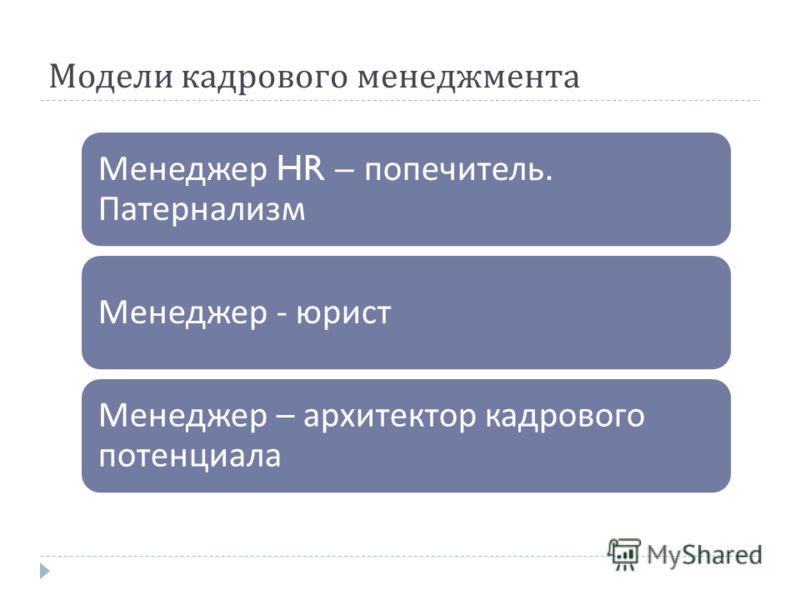 Модели кадрового менеджмента Менеджер HR – попечитель. Патернализм Менеджер - юрист Менеджер – архитектор кадрового потенциала