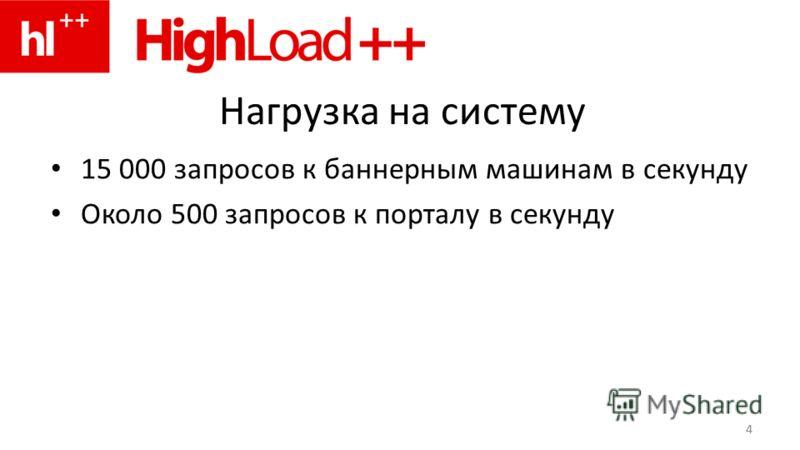 4 Нагрузка на систему 15 000 запросов к баннерным машинам в секунду Около 500 запросов к порталу в секунду 4