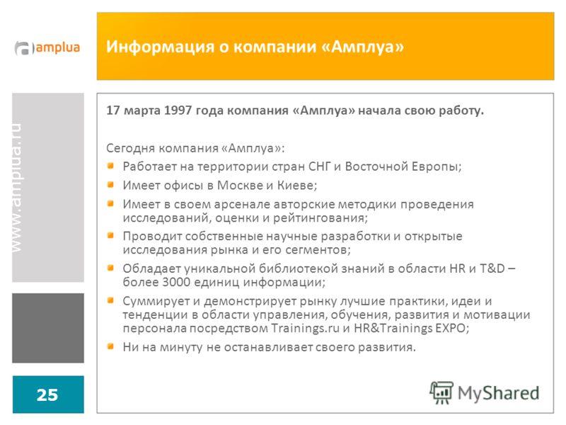 www.amplua.ru 25 Информация о компании «Амплуа» 17 марта 1997 года компания «Амплуа» начала свою работу. Сегодня компания «Амплуа»: Работает на территории стран СНГ и Восточной Европы; Имеет офисы в Москве и Киеве; Имеет в своем арсенале авторские ме