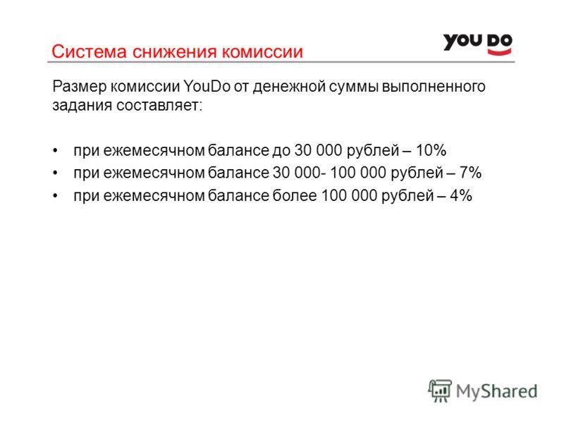 Система снижения комиссии Размер комиссии YouDo от денежной суммы выполненного задания составляет: при ежемесячном балансе до 30 000 рублей – 10% при ежемесячном балансе 30 000- 100 000 рублей – 7% при ежемесячном балансе более 100 000 рублей – 4%