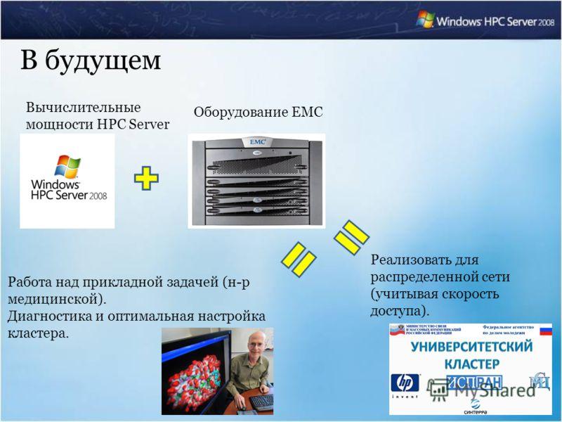 Вычислительные мощности HPC Server Оборудование EMC Работа над прикладной задачей (н-р медицинской). Диагностика и оптимальная настройка кластера. В будущем Реализовать для распределенной сети (учитывая скорость доступа).