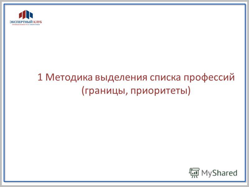 1 Методика выделения списка профессий (границы, приоритеты)