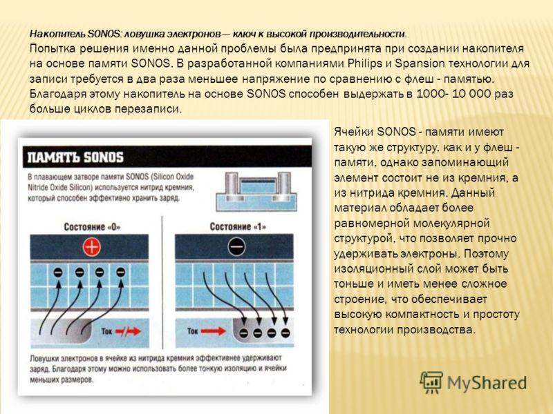 Накопитель S0N0S: ловушка электронов ключ к высокой производительности. Попытка решения именно данной проблемы была предпринята при создании накопителя на основе памяти SONOS. В разработанной компаниями Philips и Spansion технологии для записи требу