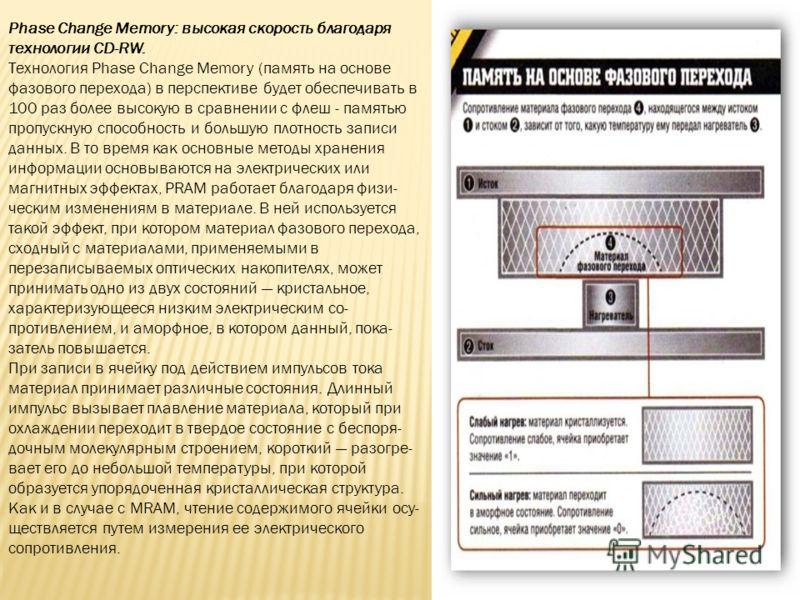 Phase Change Memory: высокая скорость благодаря технологии CD-RW. Технология Phase Change Memory (память на основе фазового перехода) в перспективе будет обеспечивать в 100 раз более высокую в сравнении с флеш - памятью пропускную способность и больш