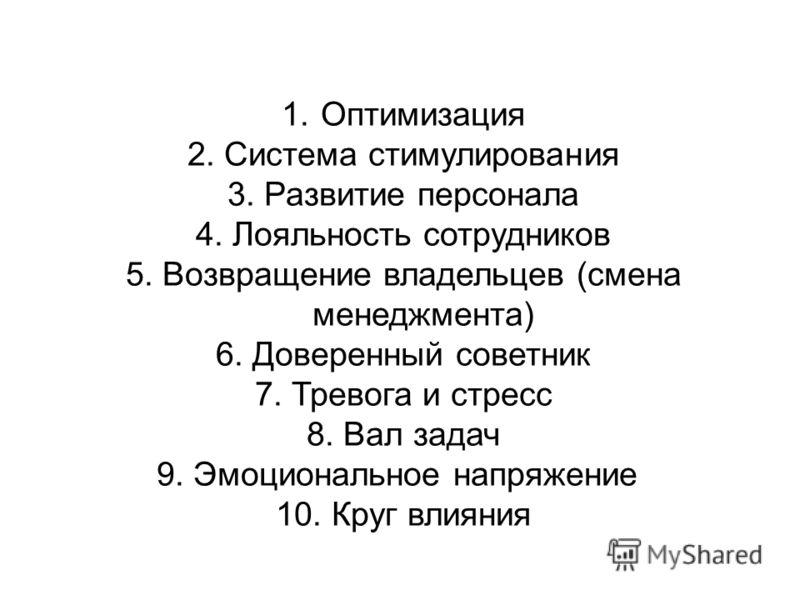 1. Оптимизация 2. Система стимулирования 3. Развитие персонала 4. Лояльность сотрудников 5. Возвращение владельцев (смена менеджмента) 6. Доверенный советник 7. Тревога и стресс 8. Вал задач 9. Эмоциональное напряжение 10. Круг влияния