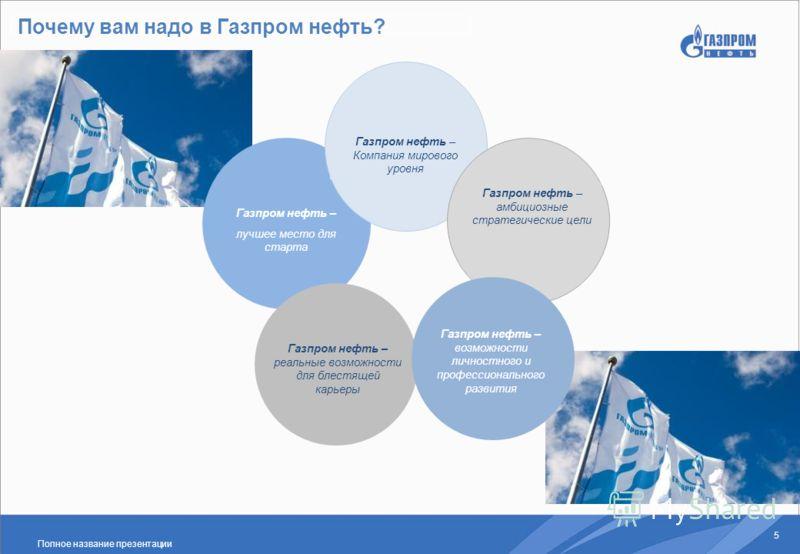 Полное название презентации 5 Почему вам надо в Газпром нефть? Газпром нефть – лучшее место для старта Газпром нефть – реальные возможности для блестящей карьеры Газпром нефть – Компания мирового уровня Газпром нефть – амбициозные стратегические цели