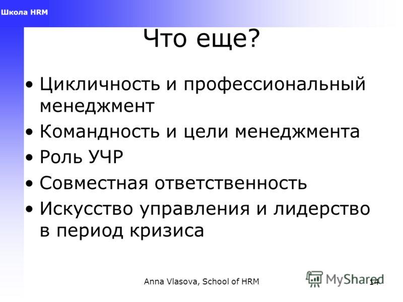 Anna Vlasova, School of HRM13 Менеджмент Как практика: «кустари и ремесленники» повсеместно изобретают велосипеды. Нельзя сводить менеджмент только к предпринимательству + Как наука: это не только знания, это понимание, приложение, анализ и синтез, о