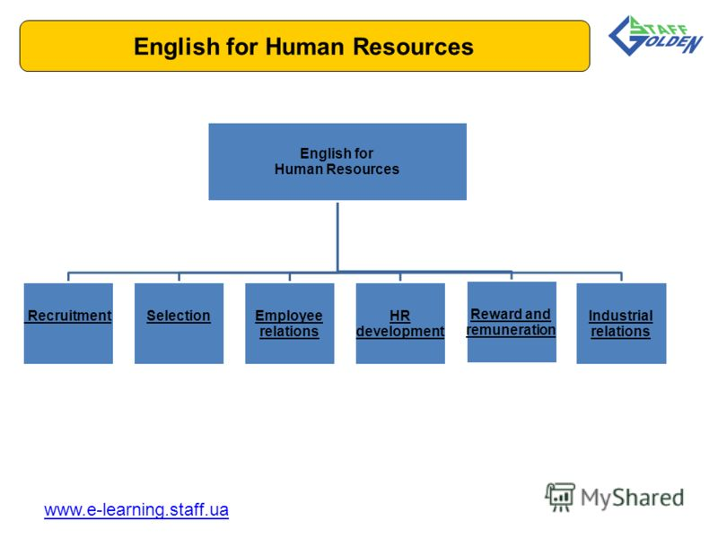 English for Human Resources www.e-learning.staff.ua English for Human Resources RecruitmentSelectionEmployee relations HR development Reward and remuneration Industrial relations