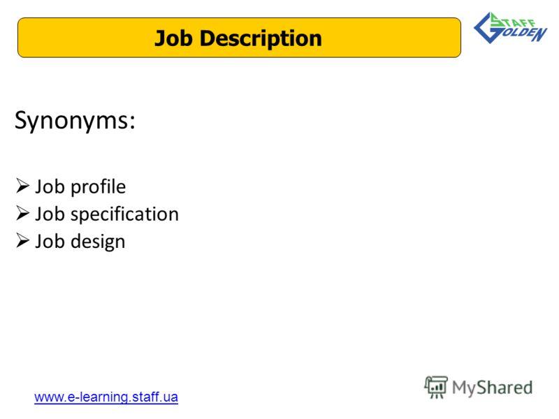 Synonyms: Job profile Job specification Job design Job Description www.e-learning.staff.ua