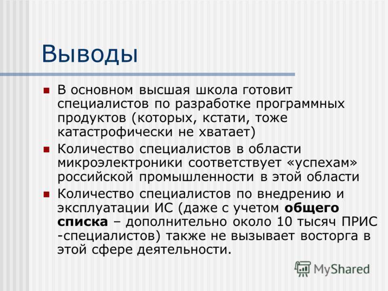 Выводы В основном высшая школа готовит специалистов по разработке программных продуктов (которых, кстати, тоже катастрофически не хватает) Количество специалистов в области микроэлектроники соответствует «успехам» российской промышленности в этой обл