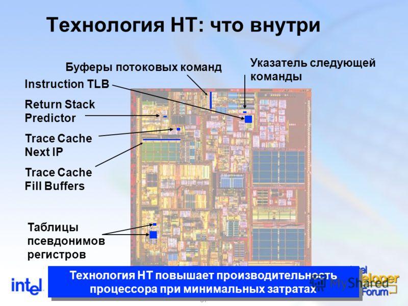 37 Технология HT: что внутри Instruction TLB Указатель следующей команды Буферы потоковых команд Trace Cache Fill Buffers Таблицы псевдонимов регистров Trace Cache Next IP Return Stack Predictor Технология HT повышает производительность процессора пр