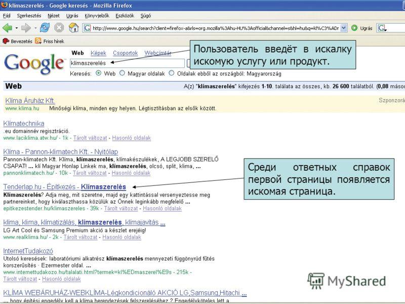 Пользователь введёт в искалку искомую услугу или продукт. Среди ответных справок первой страницы появляется искомая страница.