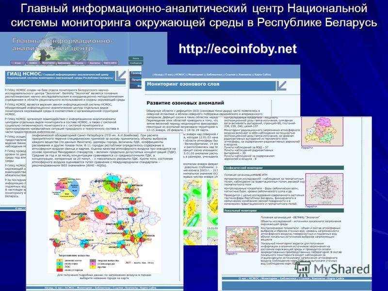 Главный информационно-аналитический центр Национальной системы мониторинга окружающей среды в Республике Беларусь http://ecoinfoby.net