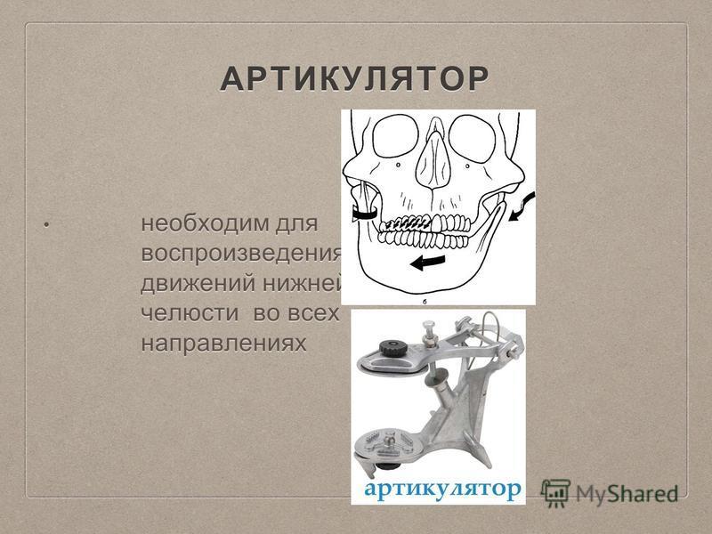 АРТИКУЛЯТОР необходим для воспроизведения движений нижней челюсти во всех направлениях необходим для воспроизведения движений нижней челюсти во всех направлениях