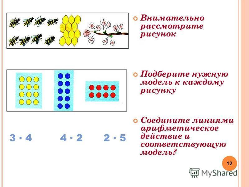 Внимательно рассмотрите рисунок Внимательно рассмотрите рисунок Подберите нужную модель к каждому рисунку Подберите нужную модель к каждому рисунку Соедините линиями арифметическое действие и соответствующую модель? Соедините линиями арифметическое д