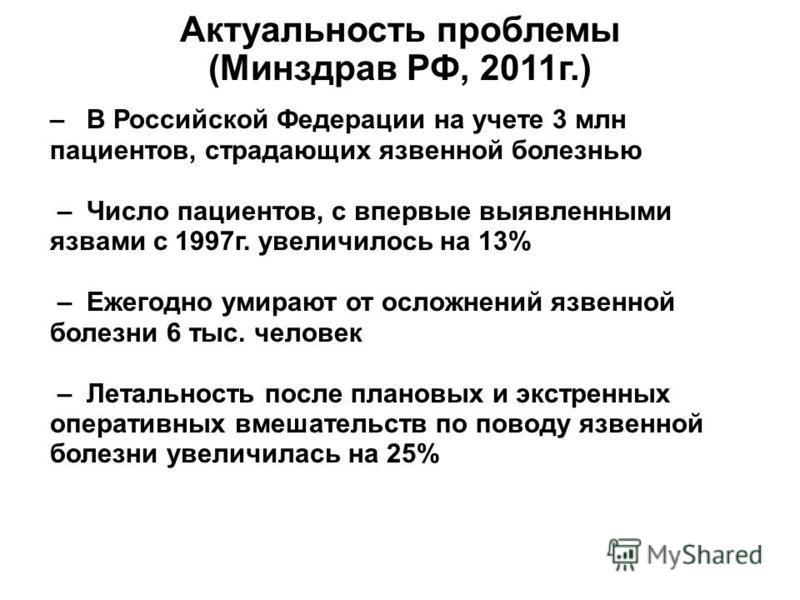 Актуальность проблемы (Минздрав РФ, 2011 г.) – В Российской Федерации на учете 3 млн пациентов, страдающих язвенной болезнью – Число пациентов, с впервые выявленными язвами с 1997 г. увеличилось на 13% – Ежегодно умирают от осложнений язвенной болезн