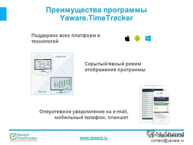 +7 (499) 638 48 39 contact@yaware.ru www.yaware.ru Преимущества программы Yaware.TimeTracker Поддержка всех платформ и технологий Скрытый/явный режим отображения программы Оперативное уведомление на e-mail, мобильный телефон, планшет