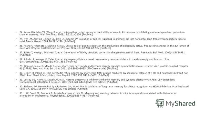 24. Kunze WA, Mao YK, Wang B, et al. Lactobacillus reuteri enhances excitability of colonic AH neurons by inhibiting calcium-dependent potassium channel opening. J Cell Mol Med. 2009;13:2261–2270. [PubMed] 25. Iyer LM, Aravind L, Coon SL, Klein DC, K