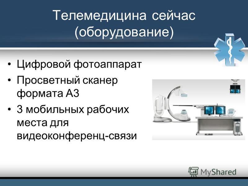 Телемедицина сейчас (оборудование) Цифровой фотоаппарат Просветный сканер формата А3 3 мобильных рабочих места для видеоконференц-связи
