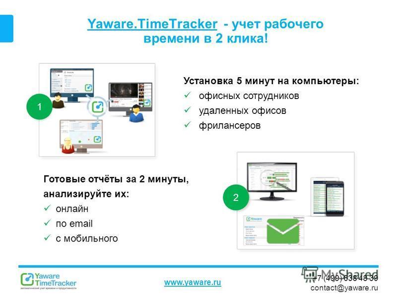+7 (499) 638 48 39 contact@yaware.ru www.yaware.ru Yaware.TimeTrackerYaware.TimeTracker - учет рабочего времени в 2 клика! Установка 5 минут на компьютеры: офисных сотрудников удаленных офисов фрилансеров Готовые отчёты за 2 минуты, анализируйте их: