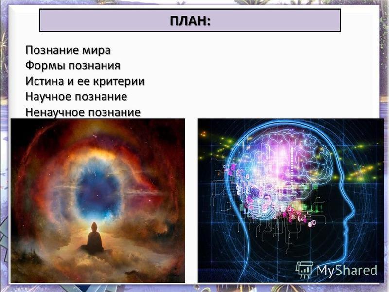 ПЛАН: Познание мира Формы познания Истина и ее критерии Научное познание Ненаучное познание