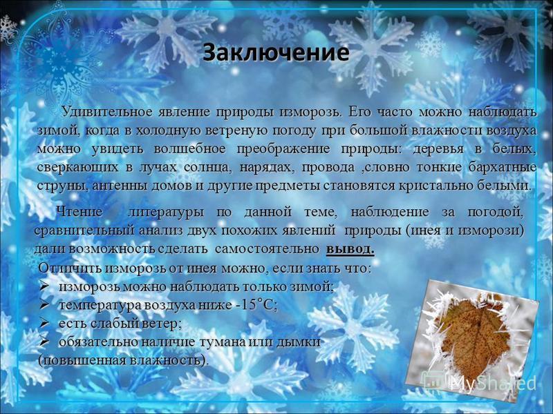 Заключение Удивительное явление природы изморозь. Его часто можно наблюдать зимой, когда в холодную ветреную погоду при большой влажности воздуха можно увидеть волшебное преображение природы: деревья в белых, сверкающих в лучах солнца, нарядах, прово