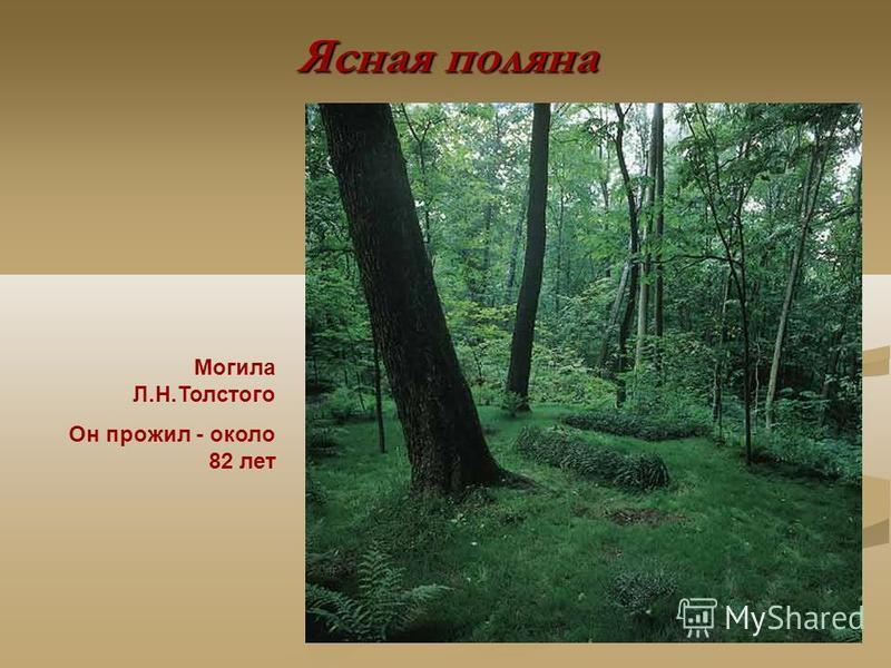 Ясная поляна Могила Л.Н.Толстого Он прожил - около 82 лет